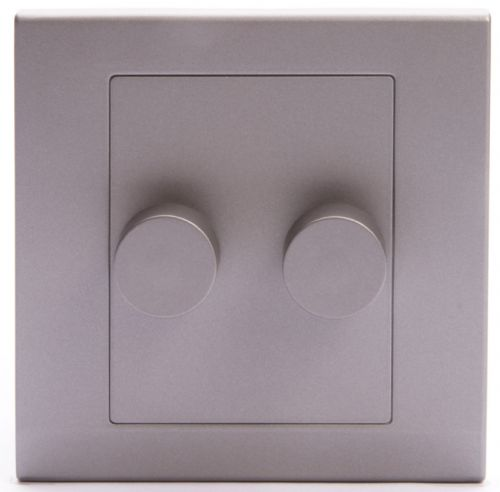 Simplicity Grey Screwless Rotary 2 Gang LED Dimmer Light Switch 07222